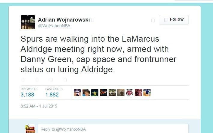 Spurs meeting with  Aldridge